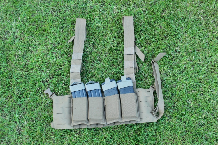One example of a chest rig. Many chest rigs also some with a 'bib' that sits above the main body (the centre above the mags) which also has MOLLE on it.