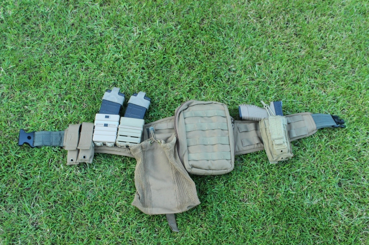 Belt mounted mag pouches set up for feeding your gun.